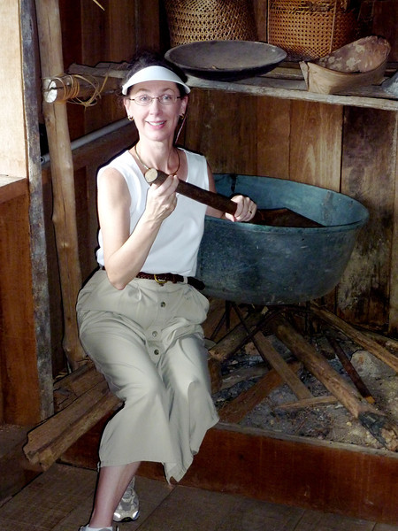 Jeane demonstrating her cooking skills - Sarawak Cultural Village