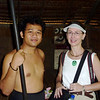 Jeane with blowgun demonstrator - Sarawak Cultural Village