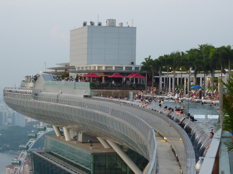 Marina Bay Sands pool -  Singapore Flyer in background, lower left.