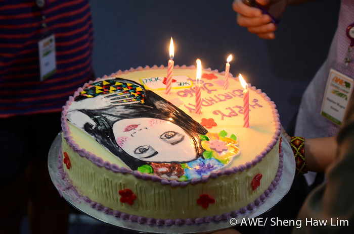 Surprise birthday cake - with AWE's poster!