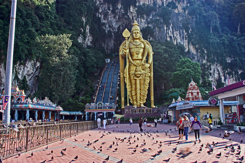 Batu Caves Temple with the massive golden statue of the Hindu God Muruga