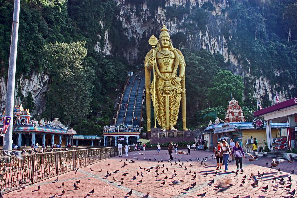 Batu Caves Temple with the massive golden statue of the Hindu God Muruga