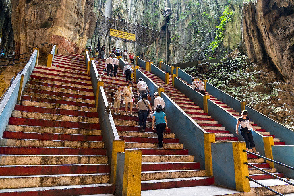 Steps leading up to the inner sanctuary of the caves, Batu Caves