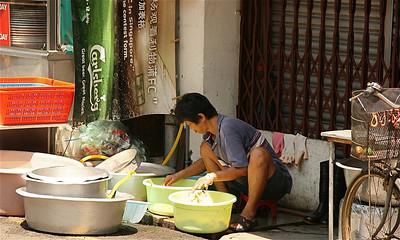 Straatbeeld Chinatown, Melaka, Maleisië.