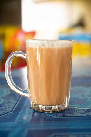 A cup of teh tarik at a roti stand in Malacca, Malaysia