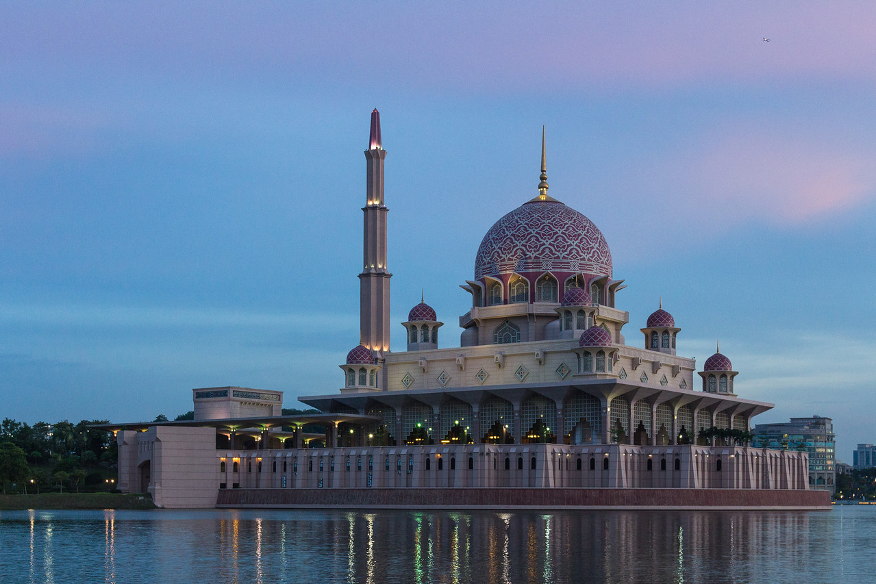 The floating Pink Mosque at Putrajaya, Malaysia