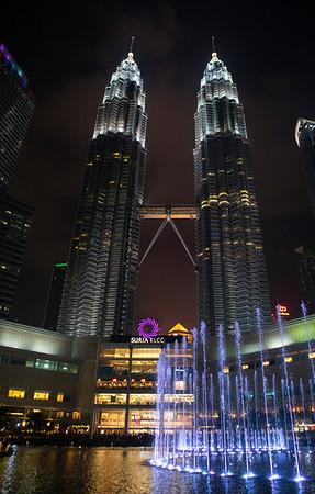 The mighty twin Petronus Towers rise above Kuala Lumpur, Malaysia