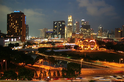 Clark Quay district by night, Singapore.