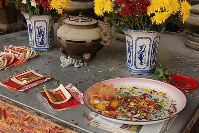 Offers in de Cheng Hoon Teng Temple, Chinatown, Melaka, Maleisië.
