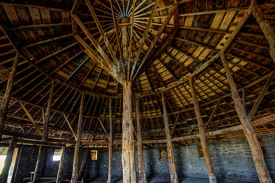 Stout Juniper center post inside the Round Barn