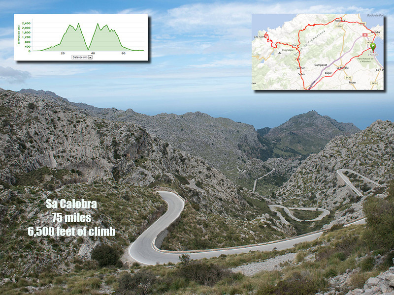 The Sa Calobra ride and in particular the Sa Colabra descent and climb (it is an out and back descent and climb) is without a doubt one of the most spectacular in the world.  It rivals the well known Stelvio in the Italian Dolomites.  The total ride from Platja d'Alcudia is about 75 miles with a total of nearly 6,500 feet of climb. And most of that climbing is one in just a few miles.