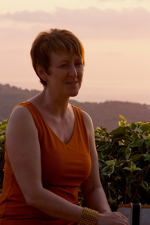 Lorna, sunset, on the villa terrace