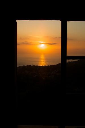 Sunset from the villa kitchen