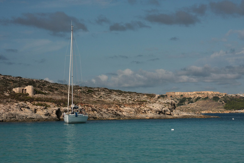 Blue lagoon on island Comino