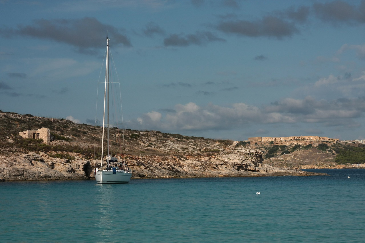 Blue lagoon on island Comino