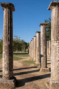 Columns that were once part of a housing for athletes in Olympia.