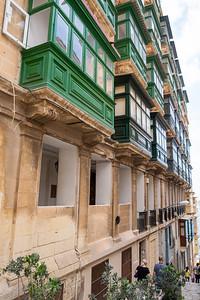 Enclosed balconies in Valleta.