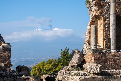 The Greek theater in Taormina has a clear view of Mt. Etna.