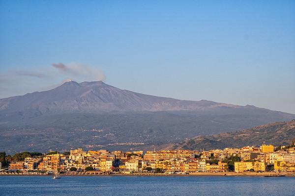 Mt. Etna from the harbor at Taormina.