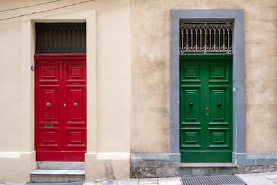 Colorful doors in Valleta.
