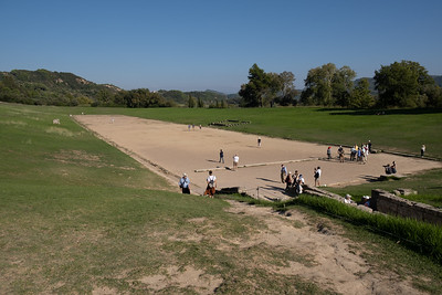 The stadium in Olympia, where the olympic games originated.