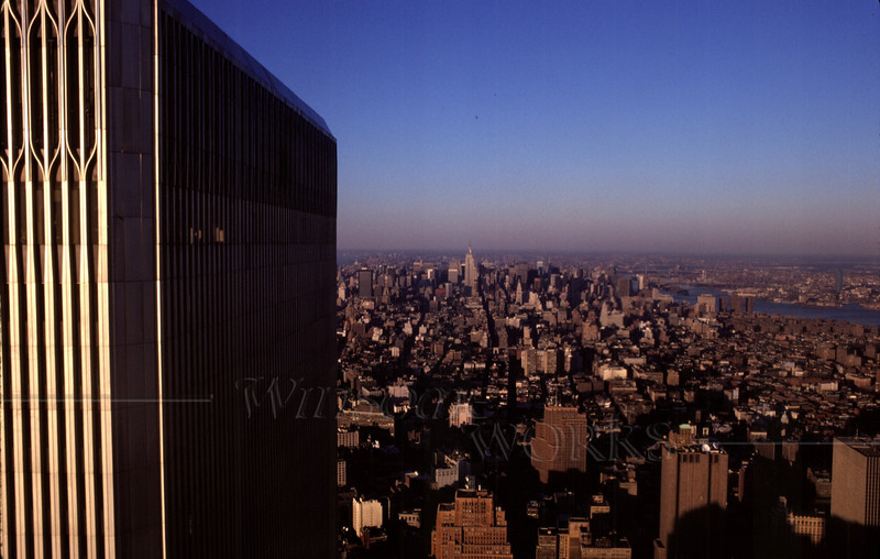 One of the World Trade Towers seen from the top of other World Trade tower (Kocachrome scan, c.1992)
