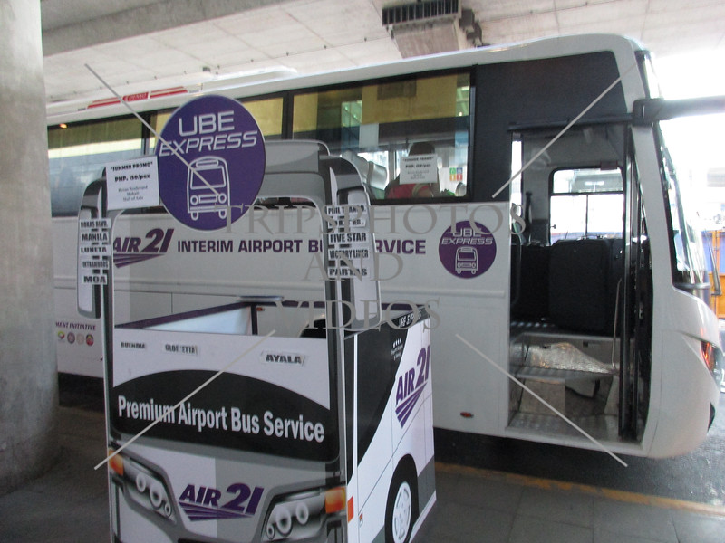 Boarding area for bus transport of arriving passengers at terminal 3 of Ninoy Aquino airport in Manila, Philippines.