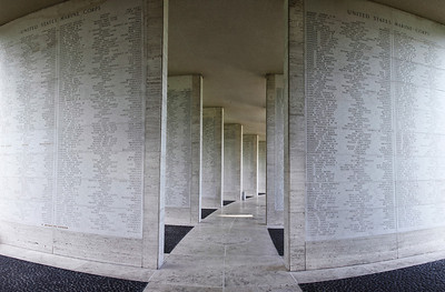 Over 35K names of those missing in WWII set along the hemicircle in the center of the memorial.