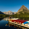 Swiftcurrent Lake with canoes