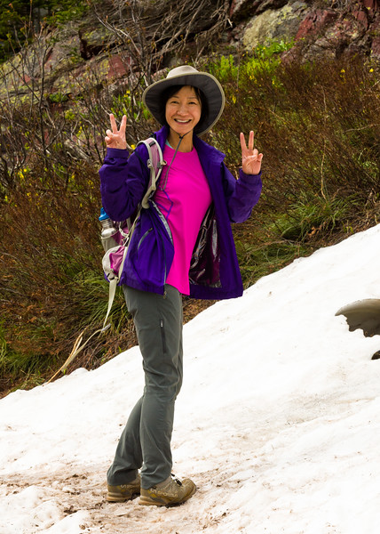Hiking buddy conquering the snowfield