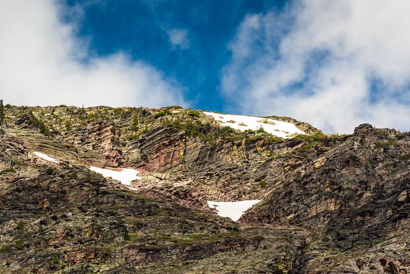 Snowpacks above Lake Josephine