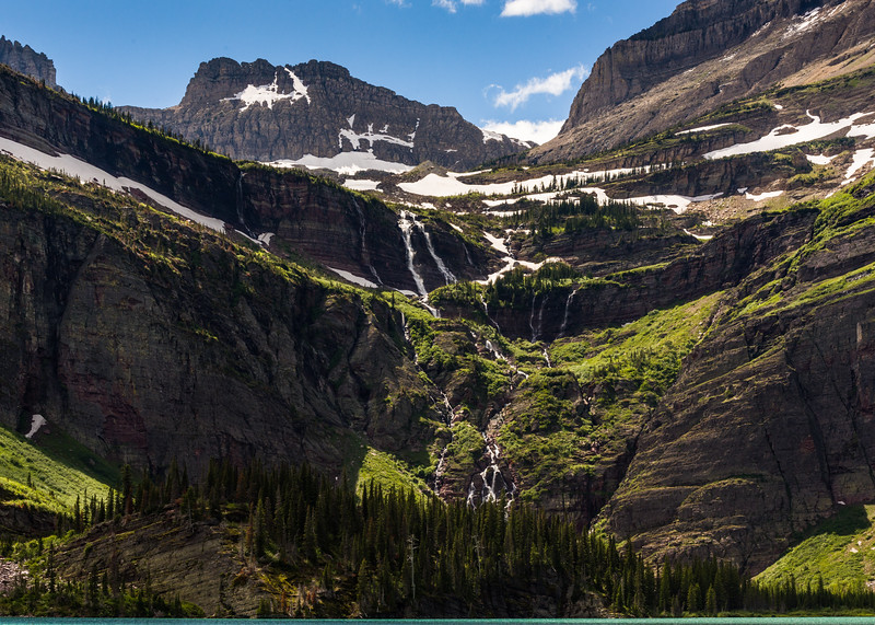 Waterfalls into Grinell Lake