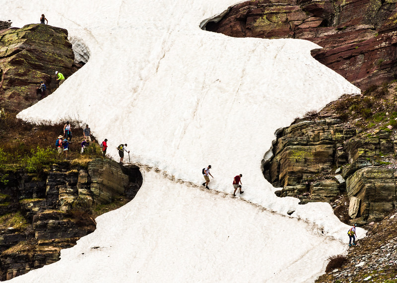 Crazy hikers - no safety gear!