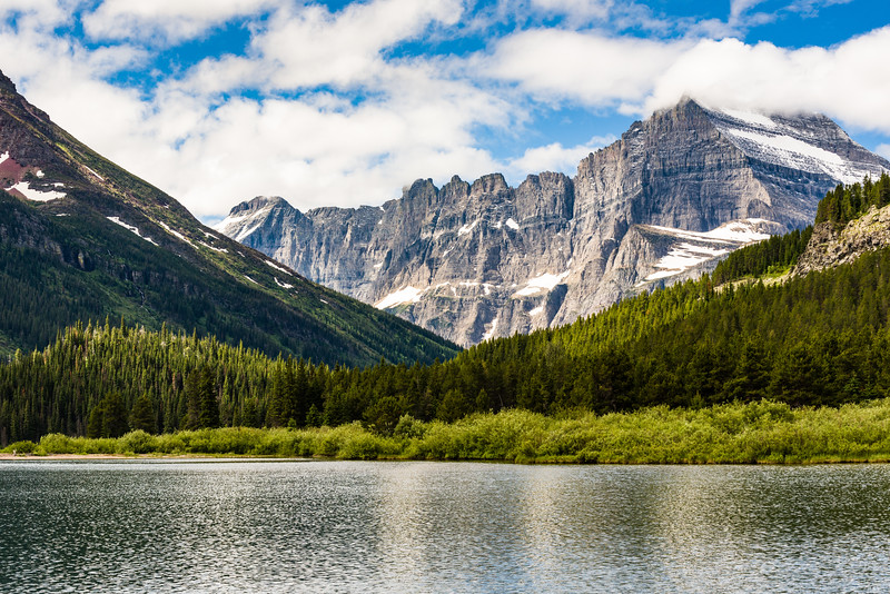 View from boat on Swiftcurrent Lake