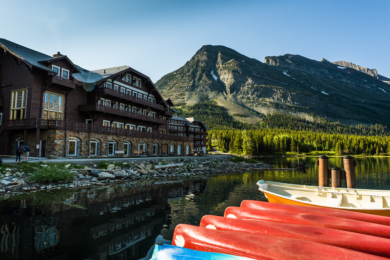 Many Glacier Hotel with canoes