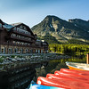 Many Glacier Hotel with canoes