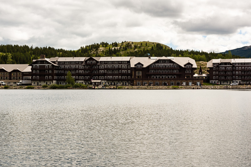 Many Glacier Lodge from boat