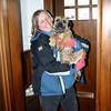 This is Donna Plante, the professional dog walker who took care of Sandy while we were away.  Sandy had 8 trial walks with her before we left him in order that he would not be scared when she took him for two weeks.  It seemed to work because he did not struggle at all when she picked him up.  This photo was taken at about 10:00 a.m. on the day of our departure.  We left on February 22 and were gone for two weeks.