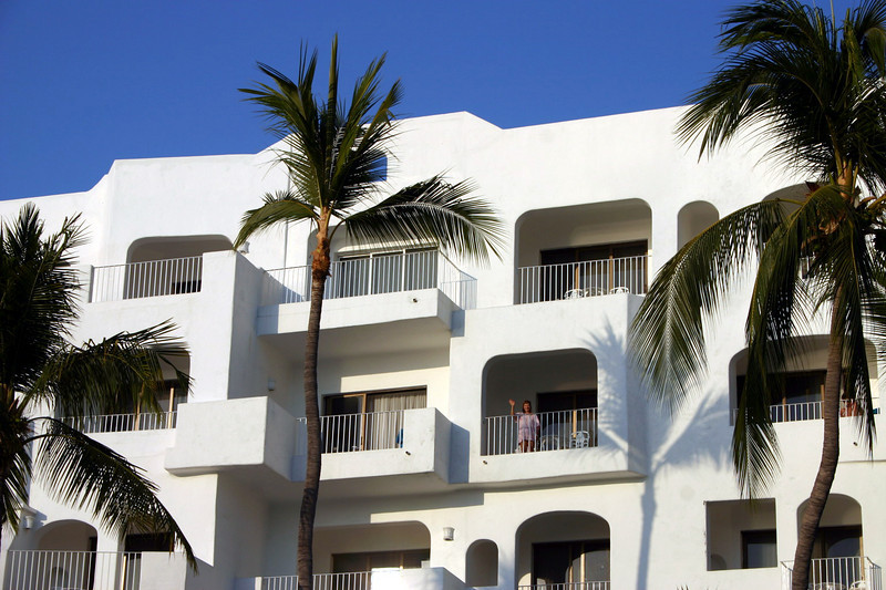 Our accommodation was in this four story building overlooking the pool and ocean.  The room was large, very clean and had a nice balcony.  There was an elevator but we climbed the stairs to our third floor room for exercise.
