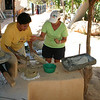 Making corn tortillas is not much more difficult.  A bit of water is added to dried corn in order to form dough.