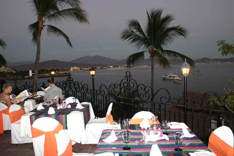 It is perched high on the hill overlooking Manzanillo Bay and is completely open to the night air.  As can be seen, it is colourfully decorated and the view is wonderful.