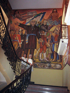 This mural dipicting the history of Mexico covered all four walls of this stairway.
