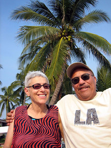 Sydney and Hank at the club house.  Lots of coconut trees all over.