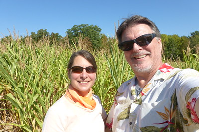 Walking through the corn.