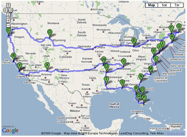The proposed route of the Fall Color Tour