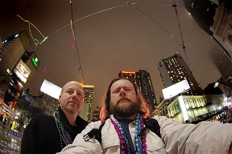 Two serious men photographing NOLA.  Shot taken with Mike's Fisheye lens.