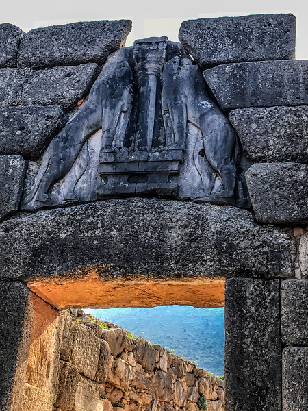 Lions gate at Mycenae, Greece;  erected around 1250 BC in the northwest side of the Acropolis.   October 24, 2018.