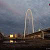 Margaret Hunt Hill Bridge, Dallas, Texas. 12/21/2016. 5:39PM. Ronald Kirk Pedestrian Bridge to the left.