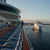 Arrival at Cozumel about 0730. Backing in to the berth. The Allure of The Seas, one of Royal Caribbean's newest and largest vessels is already at the berth.