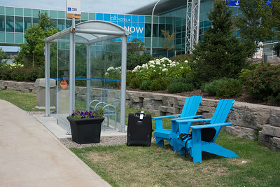 Bus shelter at Halifax Airport (complete with Muskoka Chairs)